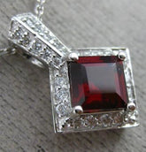 ESTATE 1.49CT DIAMOND & AAA GARNET 14KT WHITE GOLD HALO SQUARE FLOATING PENDANT