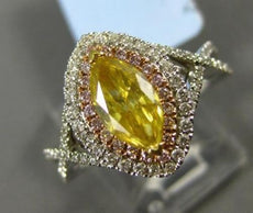 WIDE 1.48CT DIAMOND 18KT TWO TONE GOLD 3D DOUBLE HALO MARQUISE ENGAGEMENT RING