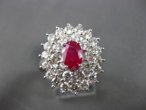ANTIQUE LARGE 3.35CT DIAMOND & RUBY 18KT WHITE GOLD 3D ENGAGEMENT COCKTAIL RING