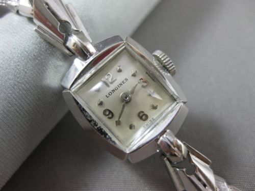 ANTIQUE 14KT WHITE GOLD SQUARE LONGINES MECHANICAL WATCH 6 1/4 INCHES #19038