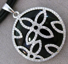 ESTATE LARGE 1.13CT DIAMOND & AAA ONYX 14KT WHITE GOLD 3D FLOWER FLORAL PENDANT