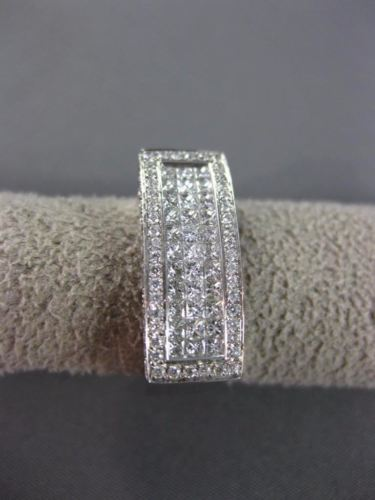 ESTATE 1.06CT DIAMOND 18KT WHITE GOLD 3D RECTANGULAR MULTI ROW ANNIVERSARY RING