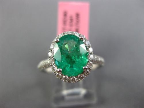 LARGE 2.13CT DIAMOND & AAA COLOMBIAN EMERALD 18K WHITE GOLD OVAL ENGAGEMENT RING