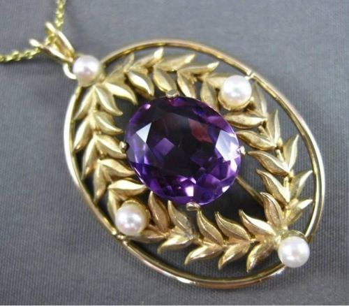 ANTIQUE LARGE 4.0CT AAA AMETHYST & PEARL 14KT YELLOW GOLD FLORAL PENDANT #23088