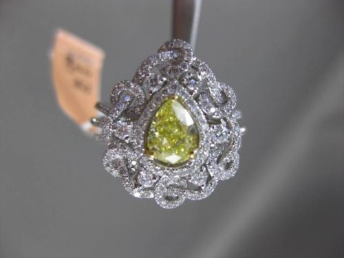 ANTIQUE 1.48CT WHITE & FANCY YELLOW DIAMOND 18K GOLD PEAR FLORAL ENGAGEMENT RING