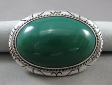 ANTIQUE EXTRA LARGE 925 SILVER HANDCRAFTED AAA GREEN ONYX FILIGREE BROOCH #22806