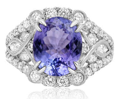 ESTATE WIDE 5.61CT DIAMOND & AAA TANZANITE 18KT WHITE GOLD 3D ENGAGEMENT RING