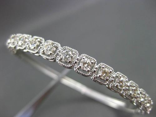 ANTIQUE 1.85CT ROUND DIAMOND 18KT WHITE GOLD CLASSIC FILIGREE BANGLE BRACELET