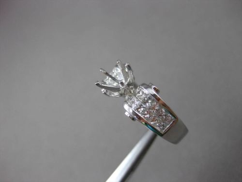 ESTATE 1.10CT DIAMOND 14K WHITE GOLD INVISIBLE SEMI MOUNT ENGAGEMENT RING #11781
