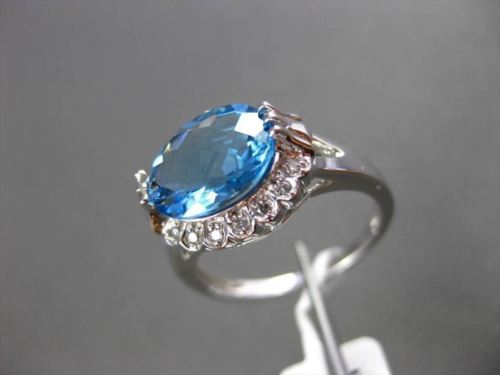 ANTIQUE 3.0CT DIAMOND & AAA BLUE TOPAZ 14KT WHITE GOLD FILIGREE EXTRA FACET RING