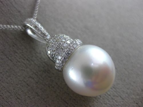 ESTATE LARGE .60CT DIAMOND & AAA SOUTH SEA PEARL 14K WHITE GOLD FLOATING PENDANT