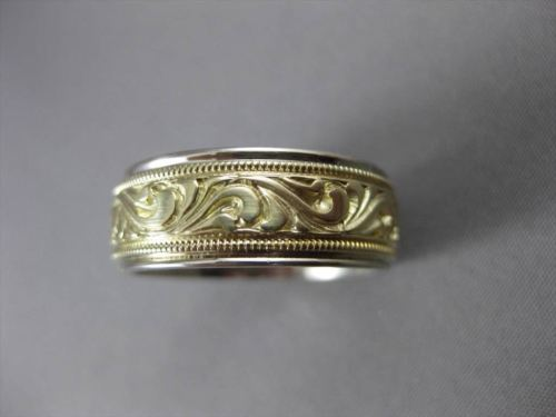ANTIQUE 14K WHITE & YELLOW GOLD HANDCRAFTED FILIGREE WEDDING BAND RING 8mm 23209