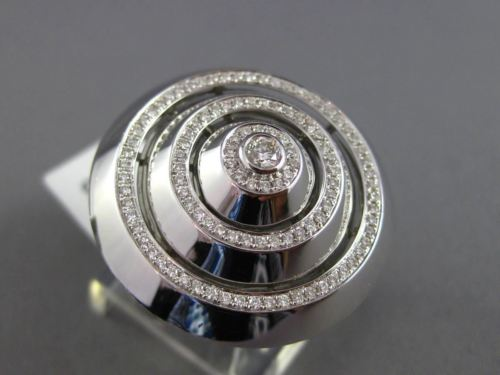 ESTATE EXTRA LARGE .82CT DIAMOND 14KT WHITE GOLD MULTI CIRCULAR PAVE ETOILE RING