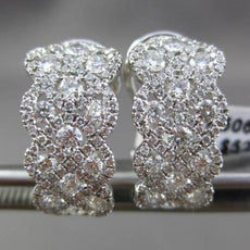 ESTATE WIDE 1.62CT DIAMOND 18K WHITE GOLD ELONGATED INFINITY 3D CLIP ON EARRINGS