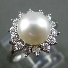 ESTATE .12CT DIAMOND & AAA SOUTH SEA PEARL 14KT WHITE GOLD CLASSIC FLOWER RING