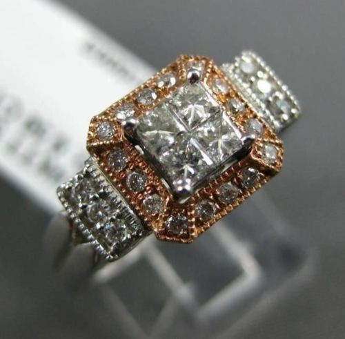 WIDE .50CT ROUND & BAGUETTE DIAMOND 14KT WHITE & ROSE GOLD HALO ENGAGEMENT RING