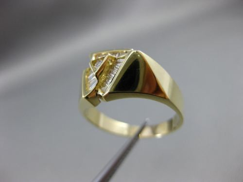 ESTATE WIDE .50CT BAGUETTE & ROUND DIAMOND 14K YELLOW GOLD 3D PYRAMID RING 18972