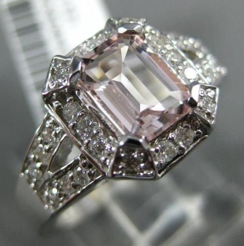 WIDE 1.30CT DIAMOND & AAA MORGANITE 14K WHITE GOLD HALO FILIGREE ENGAGEMENT RING