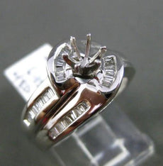 ESTATE WIDE .50CT DIAMOND 14KT WHITE GOLD SWIRL SEMI MOUNT ENGAGEMENT RING