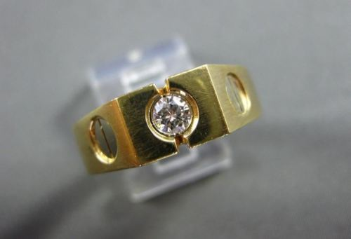ESTATE WIDE .23CT DIAMOND 14KT WHITE & YELLOW GOLD SOLITAIRE MENS RING #4167