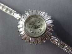 ANTIQUE LARGE MATHEY TISSOT 2CT OLD MINE ROUND & BAGUETTE DIAMOND PLATNIUM WATCH