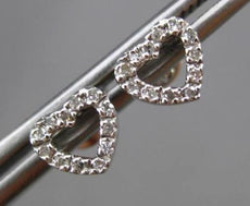 ESTATE SMALL .10CT DIAMOND 14KT WHITE GOLD CLASSIC OPEN HEART STUD EARRINGS