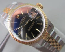 "ROLEX OYSTER PERPETUAL 18K Y GOLD SS TWO TONE DATEJUST WATCH LADY 7"" + BOX 21770"