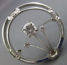 ANTIQUE LARGE 1.5CT OLD MINE DIAMOND & AAA SAPPHIRE 14K WHITE GOLD FLOWER BROOCH
