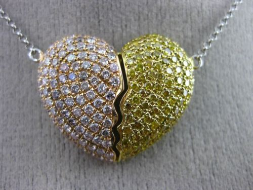 LARGE 1.89CT PINK & FANCY YELLOW DIAMOND 18KT TRI COLOR GOLD HEART LOVE NECKLACE