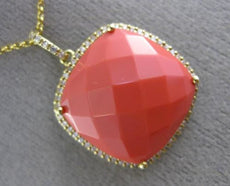 ESTATE EXTRA LARGE 8.65CT DIAMOND & CORAL 14K YELLOW GOLD 3D SQUARE HALO PENDANT