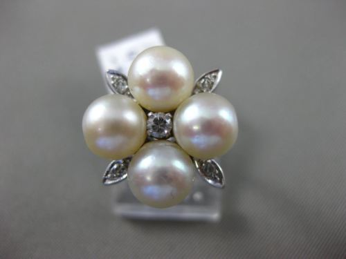 ANTIQUE .20CT OLD MINE DIAMOND & AAA PEARL 14KT WHITE GOLD 3D ETOILE FLOWER RING