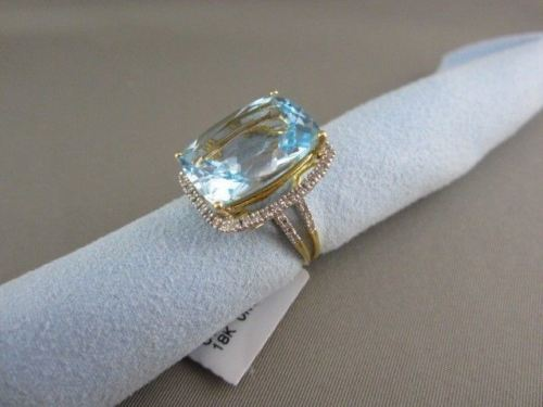 ESTATE WIDE RECTANGULAR 18.33CT AAA BLUE TOPAZ & DIAMOND 18KT TWO TONE GOLD RING