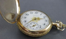 AUTHENTIC WALTHAM ANTIQUE 14KT YELLOW GOLD MECHANICAL POCKET WATCH #21963