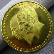 ESTATE 22KT YELLOW GOLD 50 YEAR ANNIVERSARY PAHLAVI FATHER & SON KING COIN 27mm