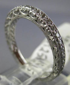 ESTATE .50CT DIAMOND 14KT WHITE GOLD 3D DOUBLE SIDED ETERNITY ANNIVERSARY RING