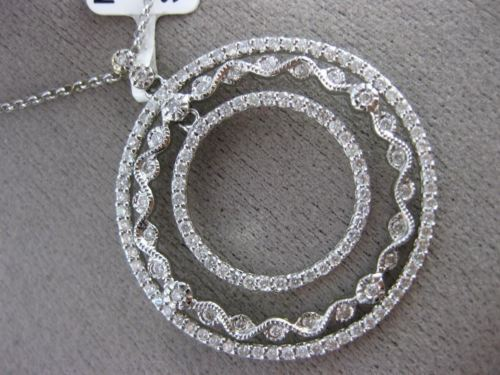 ESTATE 1.26CT DIAMOND 14KT WHITE GOLD 3D FILIGREE BY THE YARD CIRCULAR PENDANT