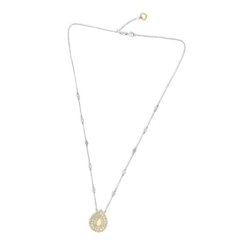 4.01CT WHITE & FANCY YELLOW DIAMOND 18K 2 TONE GOLD 3D FLOWER TEAR DROP NECKLACE
