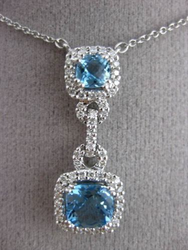 ANTIQUE 1.74CTW DIAMOND & AAA BLUE TOPAZ 14KT WHITE GOLD SQUARE FLOATING PENDANT