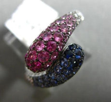 ESTATE 1.50CT DIAMOND & AAA PINK & BLUE SAPPHIRE 14KT WHITE GOLD SNAKE FUN RING
