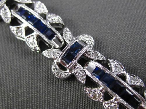 ESTATE WIDE & LONG 3.71CT DIAMOND & SAPPHIRE 14K WHITE GOLD 3D FILIGREE BRACELET