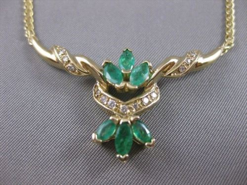 "ANTIQUE 1.40CTW DIAMOND COLOMBIAN EMERALD 14K GOLD FILIGREE NECKLACE 19.5"" 21154"