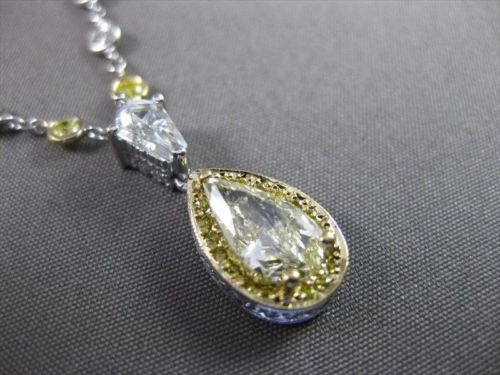ESTATE 2.26CT WHITE & FANCY YELLOW DIAMOND PLATINUM DIAMOND BY THE YARD NECKLACE