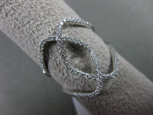 ESTATE WIDE .36CT DIAMOND 18KT WHITE GOLD OPEN DOUBLE INFINITY HOOP X LOVE RING