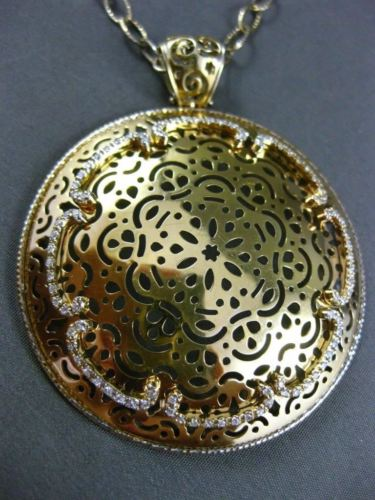 ANTIQUE EXTRA LARGE .90CT DIAMOND 14KT YELLOW GOLD FILIGREE CIRCULAR PENDANT