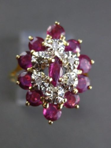 ESTATE WIDE & LARGE 1.26CT DIAMOND & RUBY 14K TWO TONE GOLD COCKTAIL RING #19191