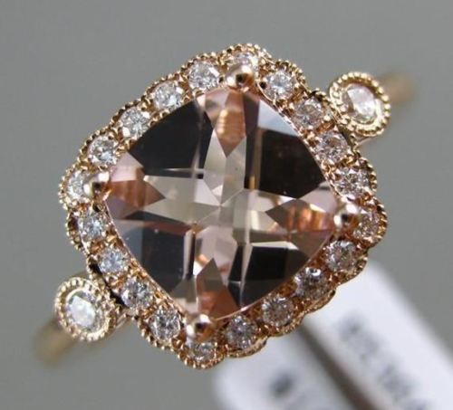 WIDE 1.48CT DIAMOND & AAA MORGANITE 14KT ROSE GOLD HALO FILIGREE ENGAGEMENT RING