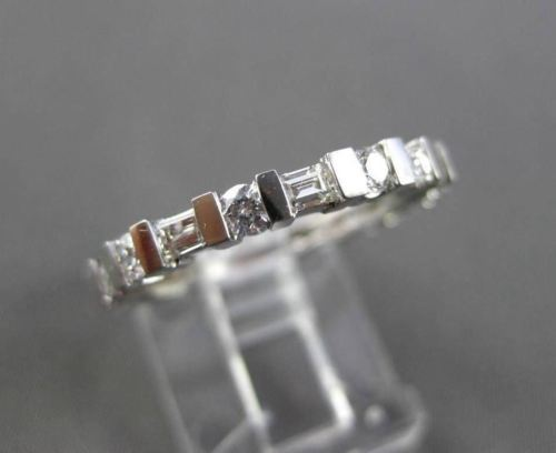 ESTATE 1.22CT ROUND & BAGUETTE DIAMOND 14KT WHITE GOLD ETERNITY RING BAND #18621