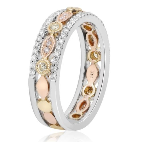 .40CT WHITE, PINK & FANCY YELLOW DIAMOND 14KT TRI COLOR GOLD 3D ANNIVERSARY RING