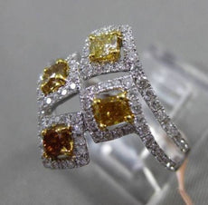 ESTATE LARGE 1.21CT FANCY COLOR DIAMOND 18KT TWO TONE GOLD ETOILE COCKTAIL RING