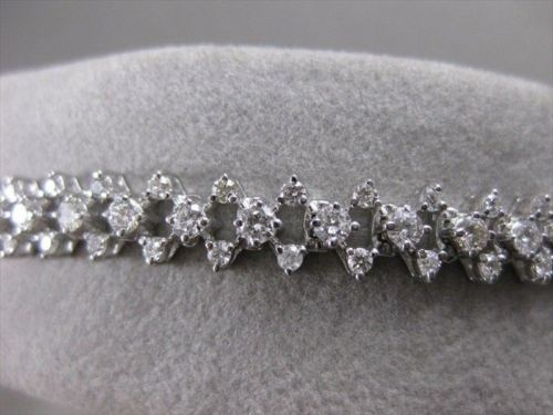 "ESTATE WIDE 3.29CT DIAMOND 14K WHITE GOLD WOVEN TENNIS BRACELET 6.5M 7.25"" 21192"